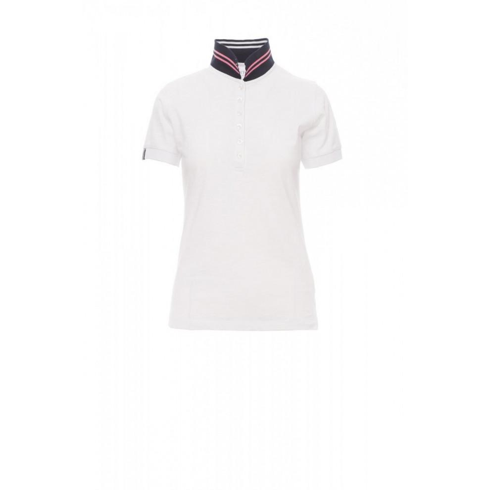 Polo Manica Corta Jersey Slub Yarn 160Gr Nautic Lady S Bianco/Blu Navy-Bian