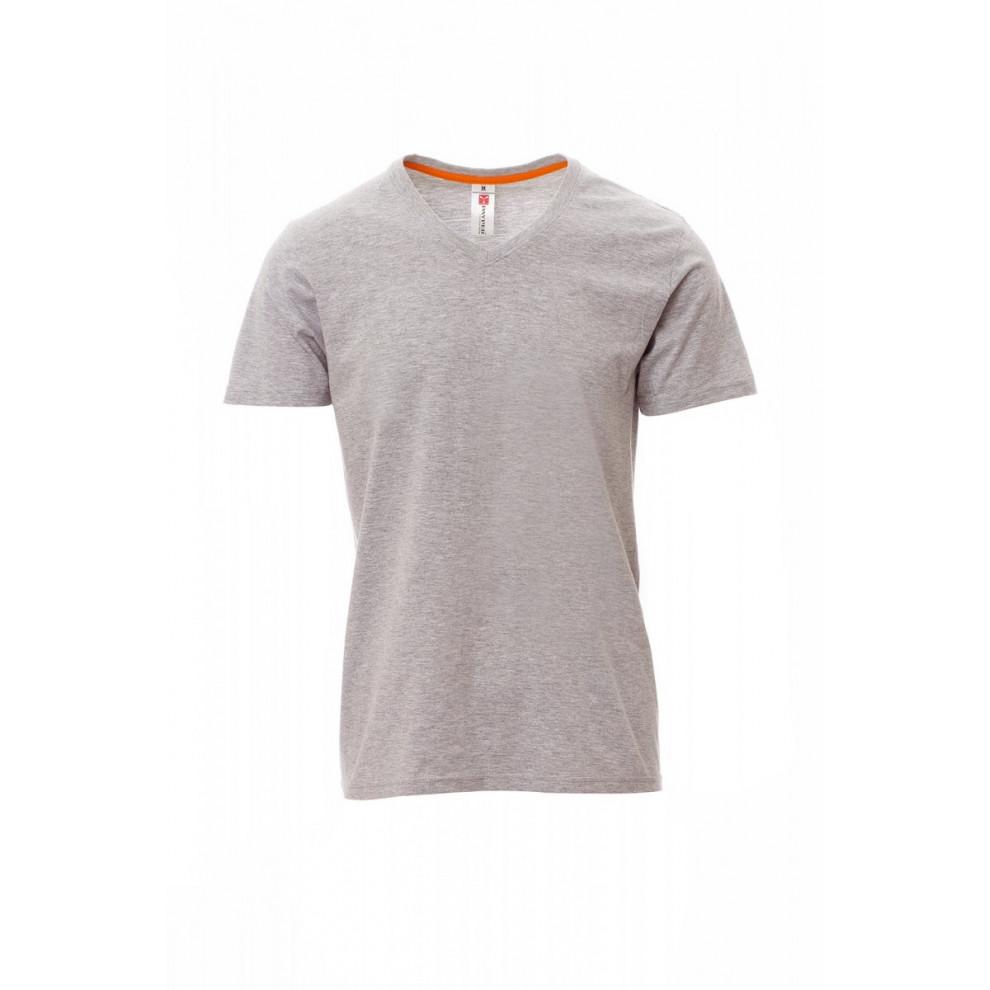 T-Shirt Manica Corta Jersey 150Gr Con 7%Viscosa V-Neck Melange S Grigio Melange