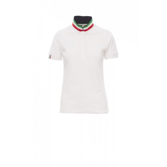 Polo Manica Corta Piquet 210Gr Nation Lady S Bianco/Italia
