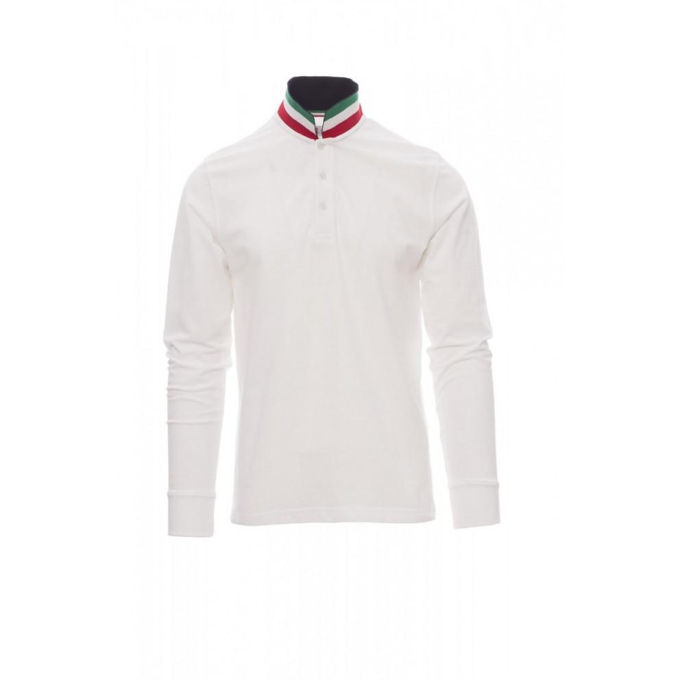 Polo Manica Lunga Piquet 210Gr Long-Nation S Bianco/Italia